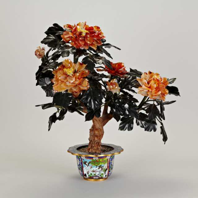Cloisonné Enamel and Hardstone Tree