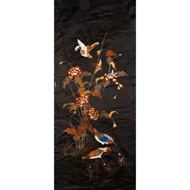 Large Silk Embroidered 'Fauna' Textile