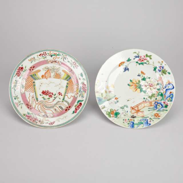 Two Export Famille Rose Dishes, 19th Century