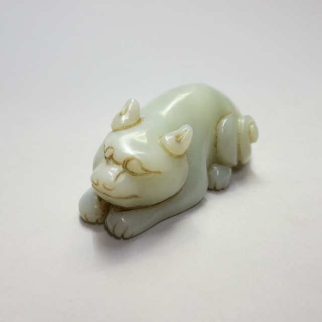 Pale Celadon Jade Carving of a Cat