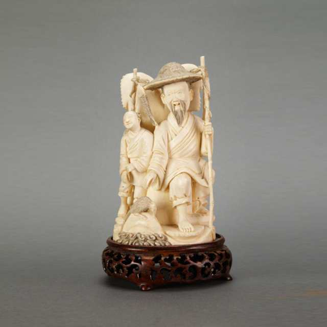 Ivory Carved Fisherman and Attendant, Circa 1940