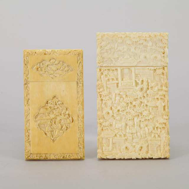 Two Export Ivory Carved Card Cases, Late 19th Century