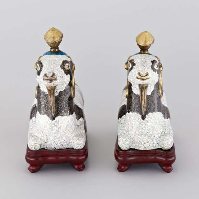 Pair of Cloisonné Enamel Goat and Riders