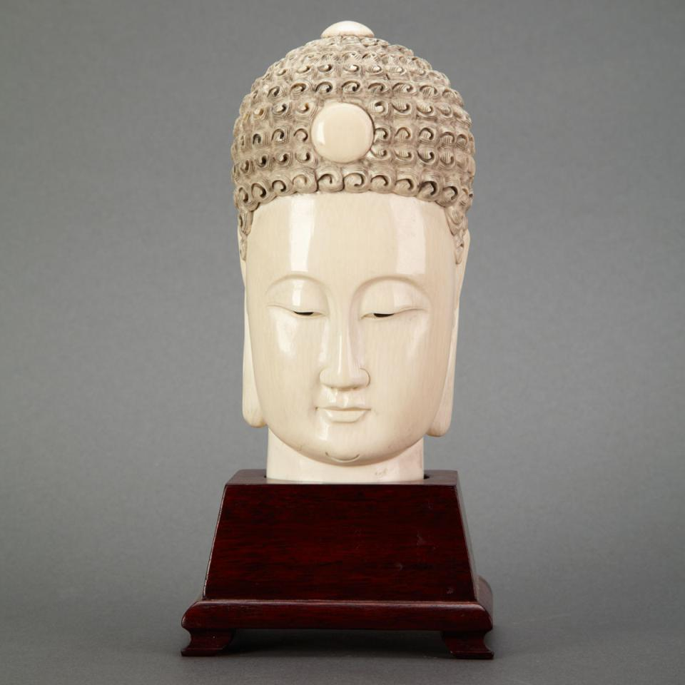 Ivory Carved Buddha Head, Circa 1940