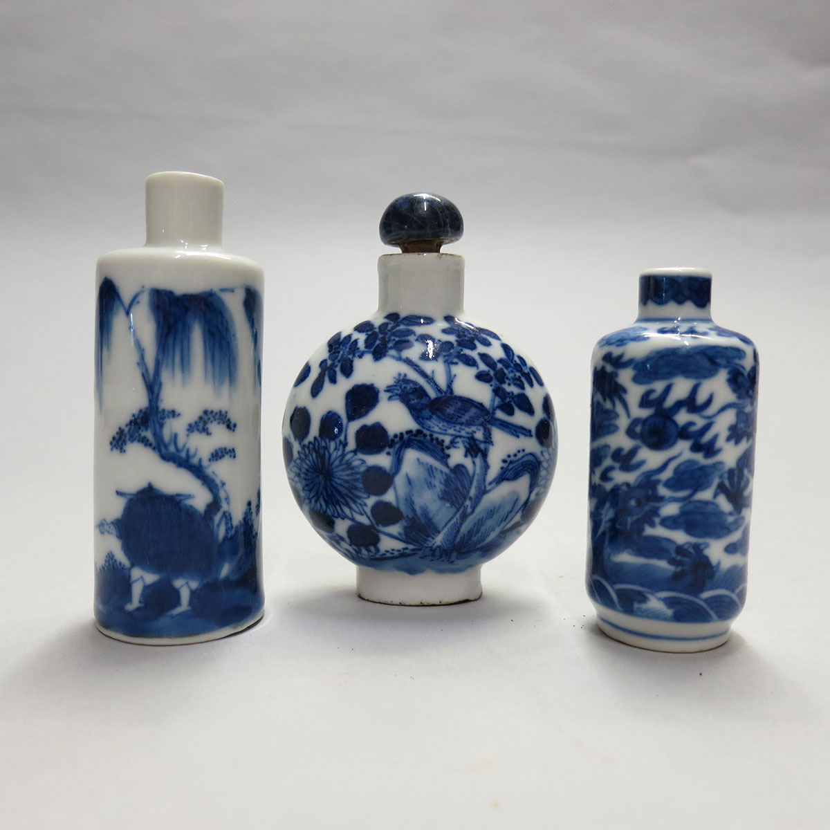 Three Blue and White Snuff Bottles, 19th/20th Century