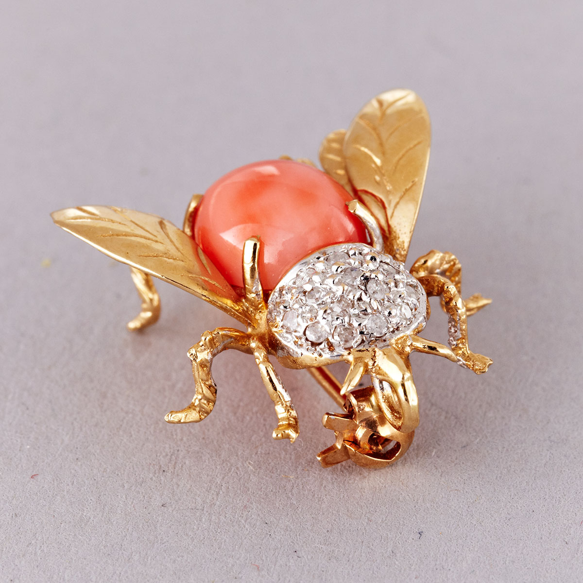 Coral and 14k Yellow Gold Pin