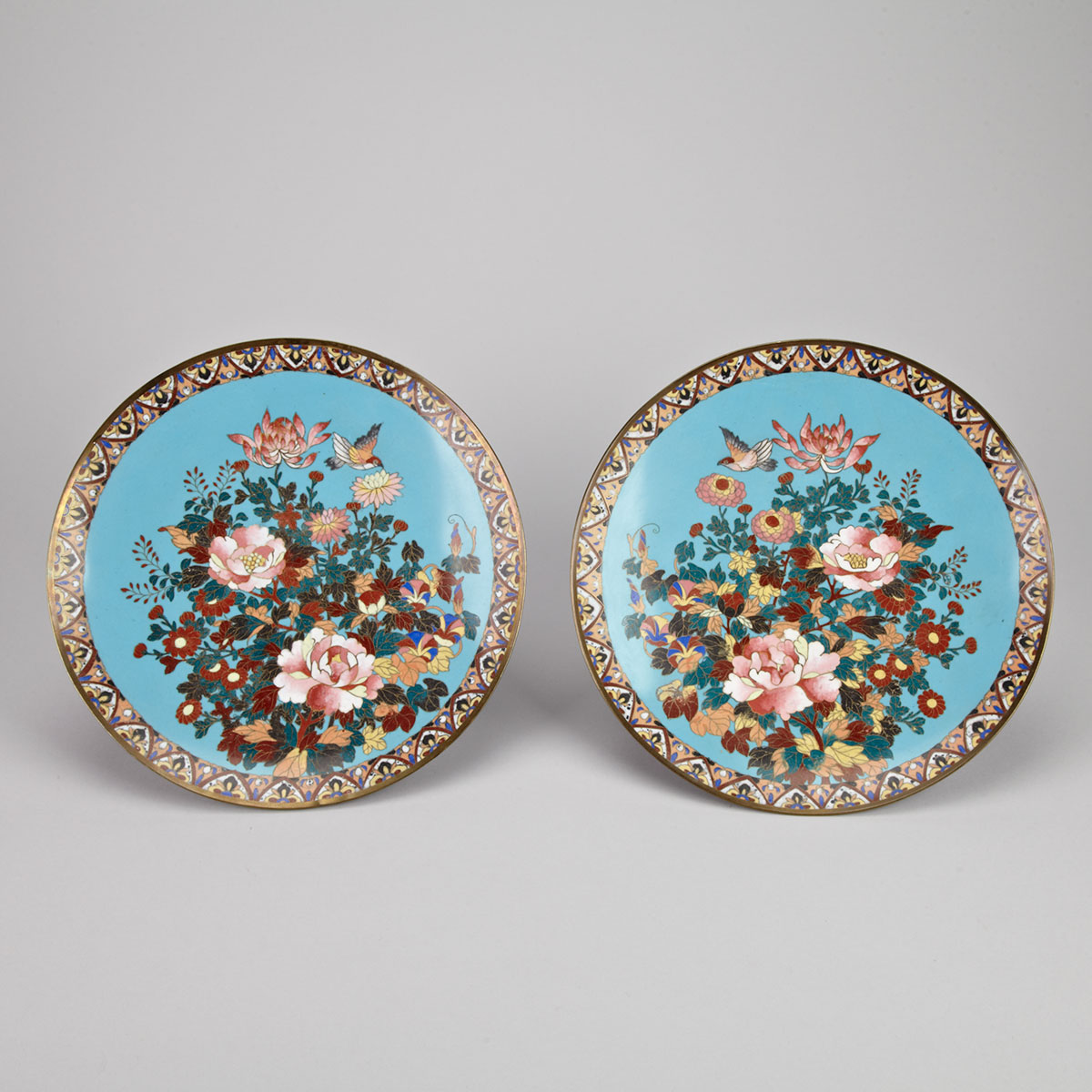 Pair of Cloisonné Enamel Fauna and Floral Plates, Early 20th Century