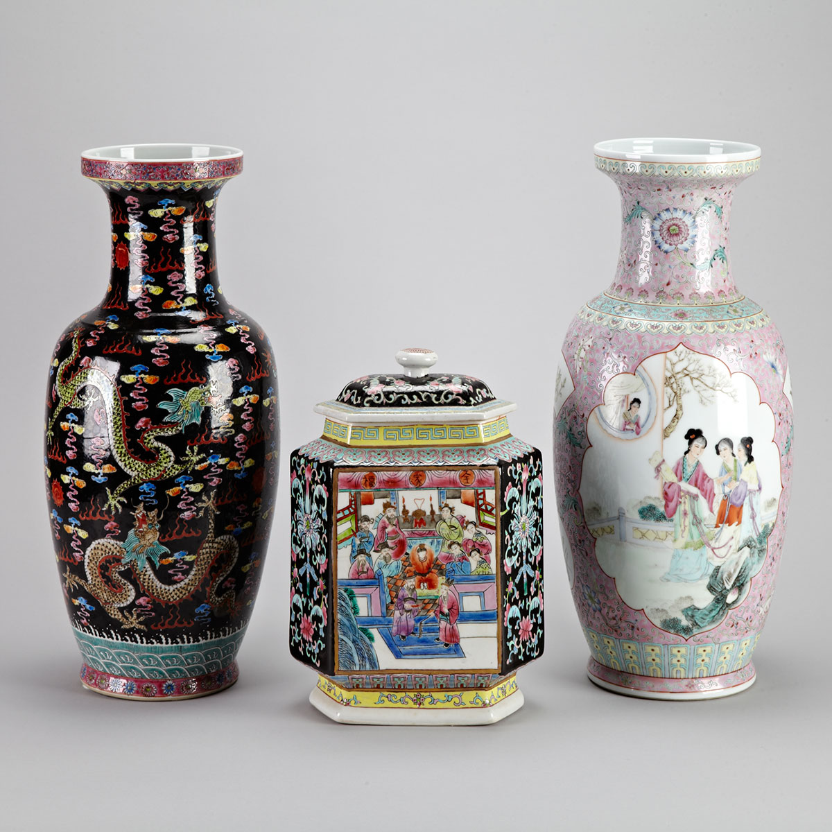 Three Famille Rose Vases