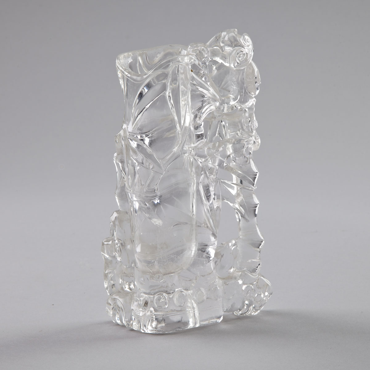 Rock Crystal Carved 'Bamboo' Form Brush Pot