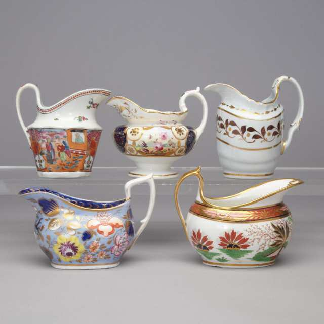 Group of Five English Porcelain Cream Jugs, late 18th/early 19th century