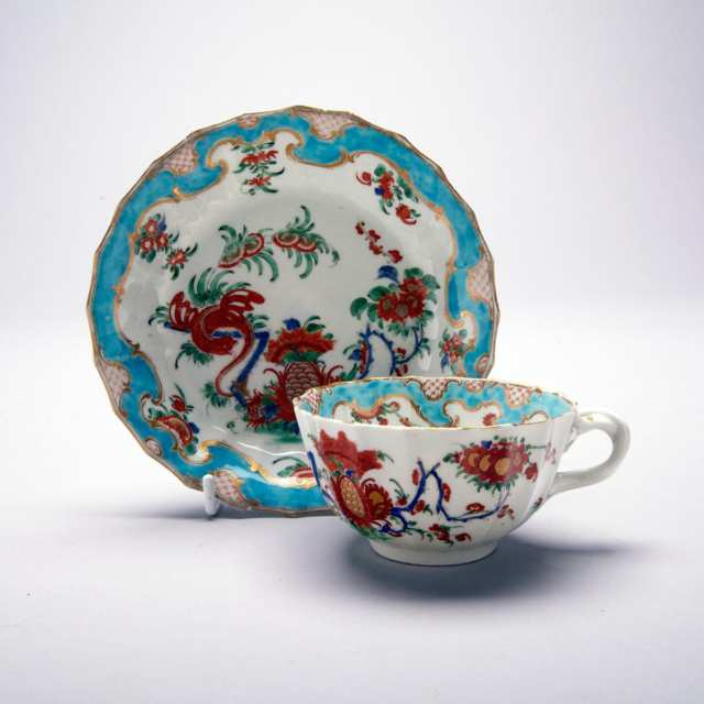 Worcester 'Jabberwocky' Pattern Fluted Tea Cup and Saucer, c.1770