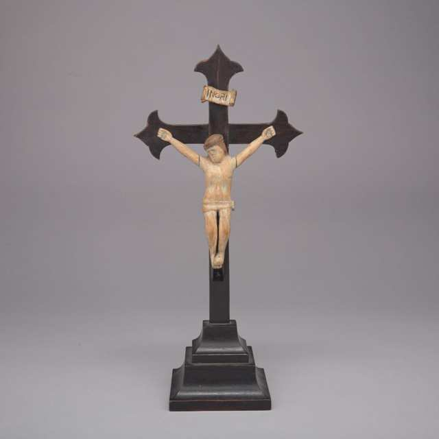 Quebec Folk Art Carved Crucifix, 19th century