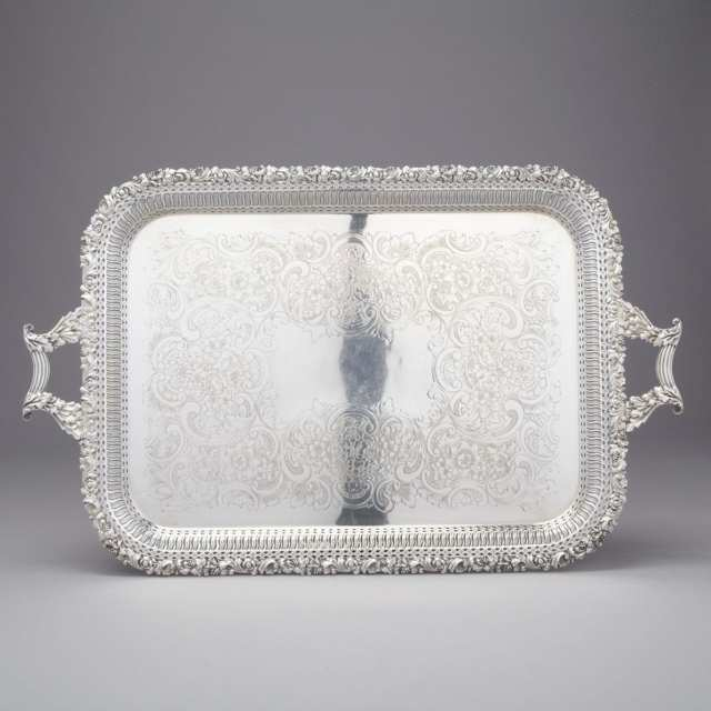 Silver Plated Two-Handled Rectangular Serving Tray, Ellis Bros., 20th century