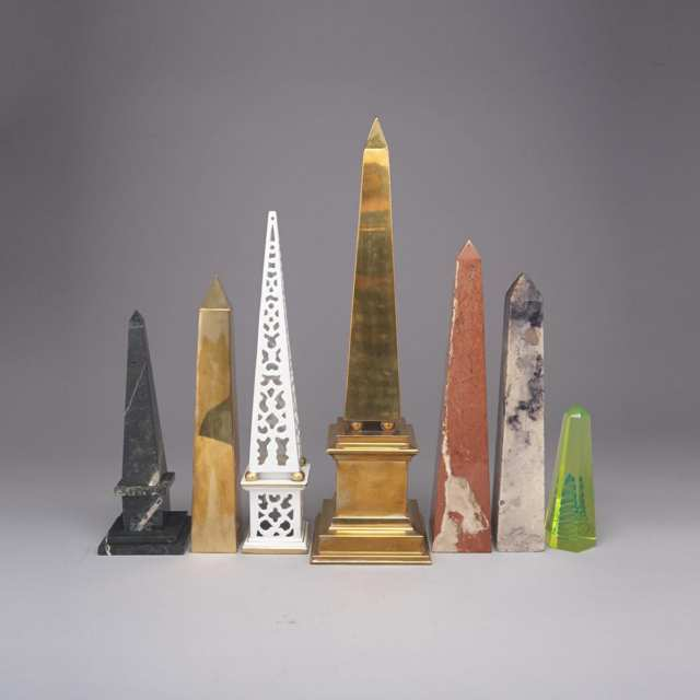 Group of Seven Miscellaneous Obelisks, 20th century