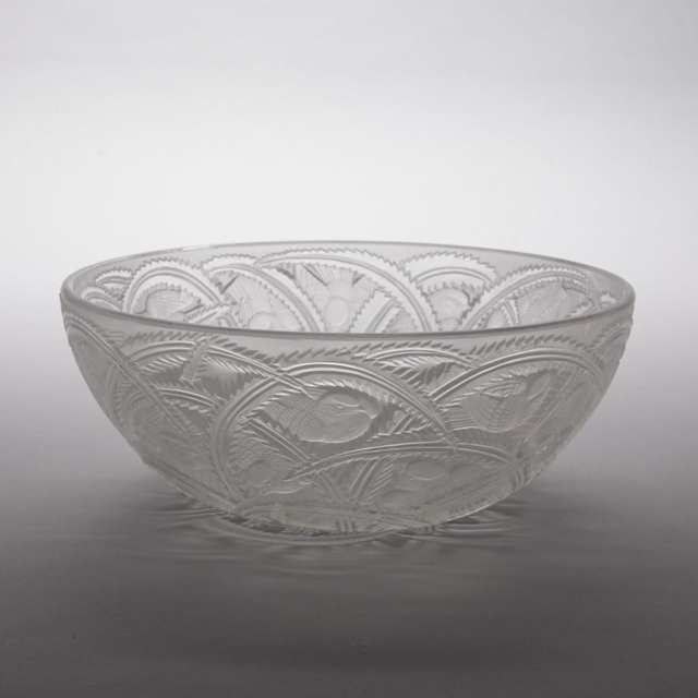 'Pinsons', Lalique Moulded and Partly Frosted Glass Bowl, post-1945