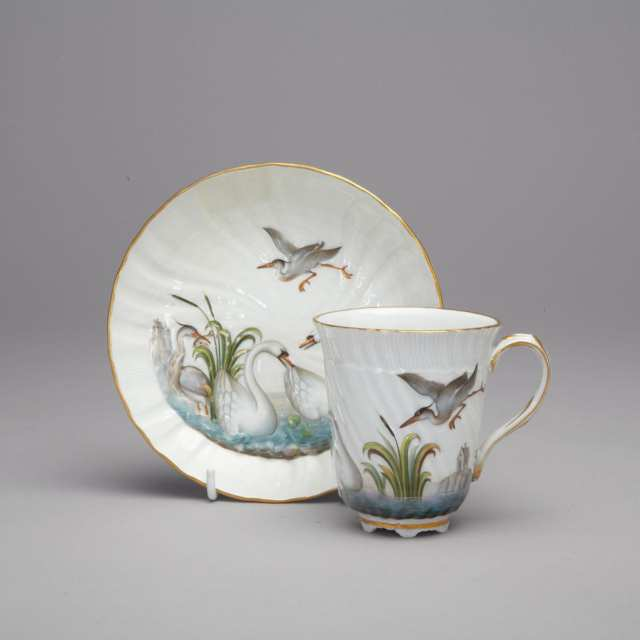 Meissen 'Swan' Pattern Chocolate Cup and Saucer, late 19th/early 20th century