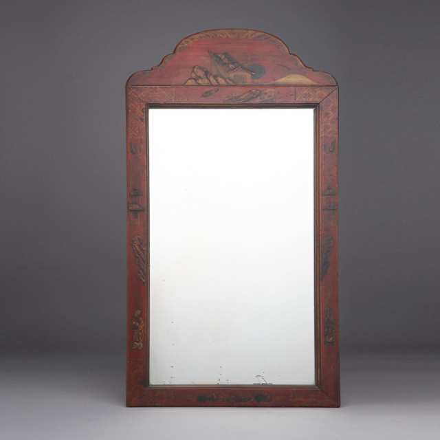Queen Anne Style Red Japanned Mirror, early 19th century