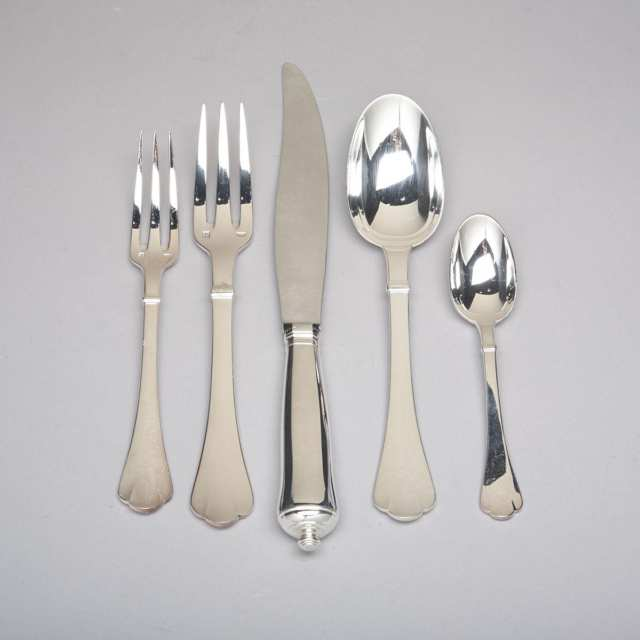 French Silver Plated 'Cardinal' Pattern Flatware, Puiforcat, 20th century
