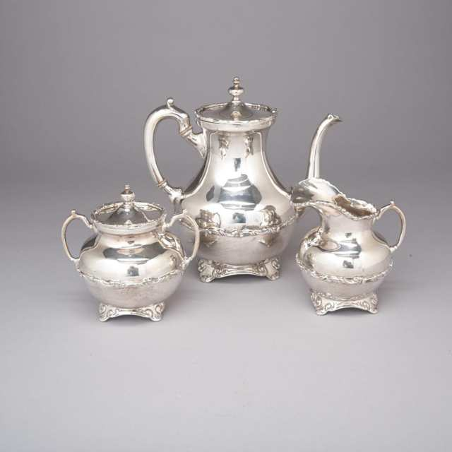 Assembled Victorian and Later Silver Tea Service, London, 1854, 1858 and Montreal, 1943