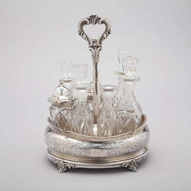 Victorian Silver Seven-Bottle Cruet, Charles Lias, London, 1848