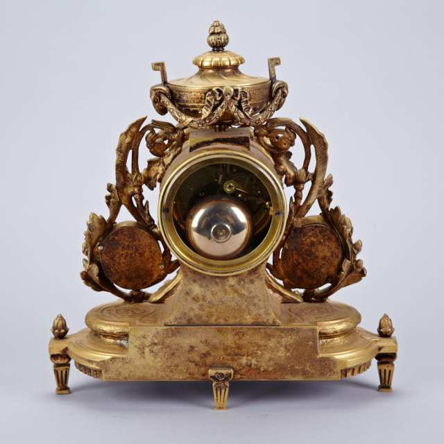 Louis XVI Style Sevres Porcelain Mounted Gilt Bronze Mantle Clock, 19th century
