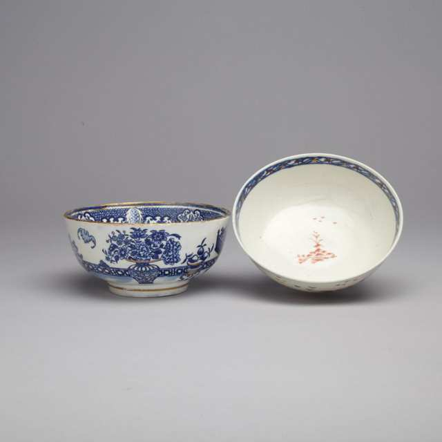 Liverpool 'Cannonball' Pattern Slop Bowl and Another, Worcester 'Bat' Pattern, c.1775-85