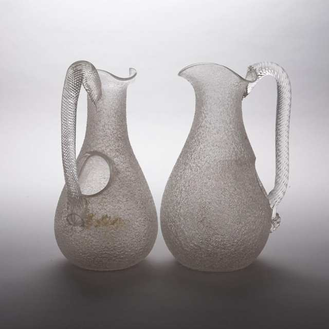 Pair of Victorian Overshot Glass Water Jugs, late 19th century
