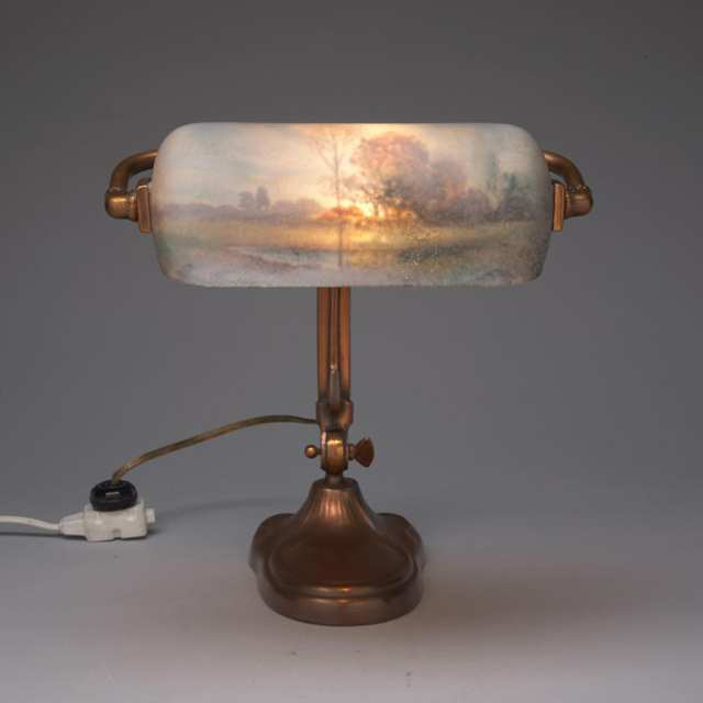 Handel Reverse Painted Glass and Coppered Metal Piano Lamp, early 20th century