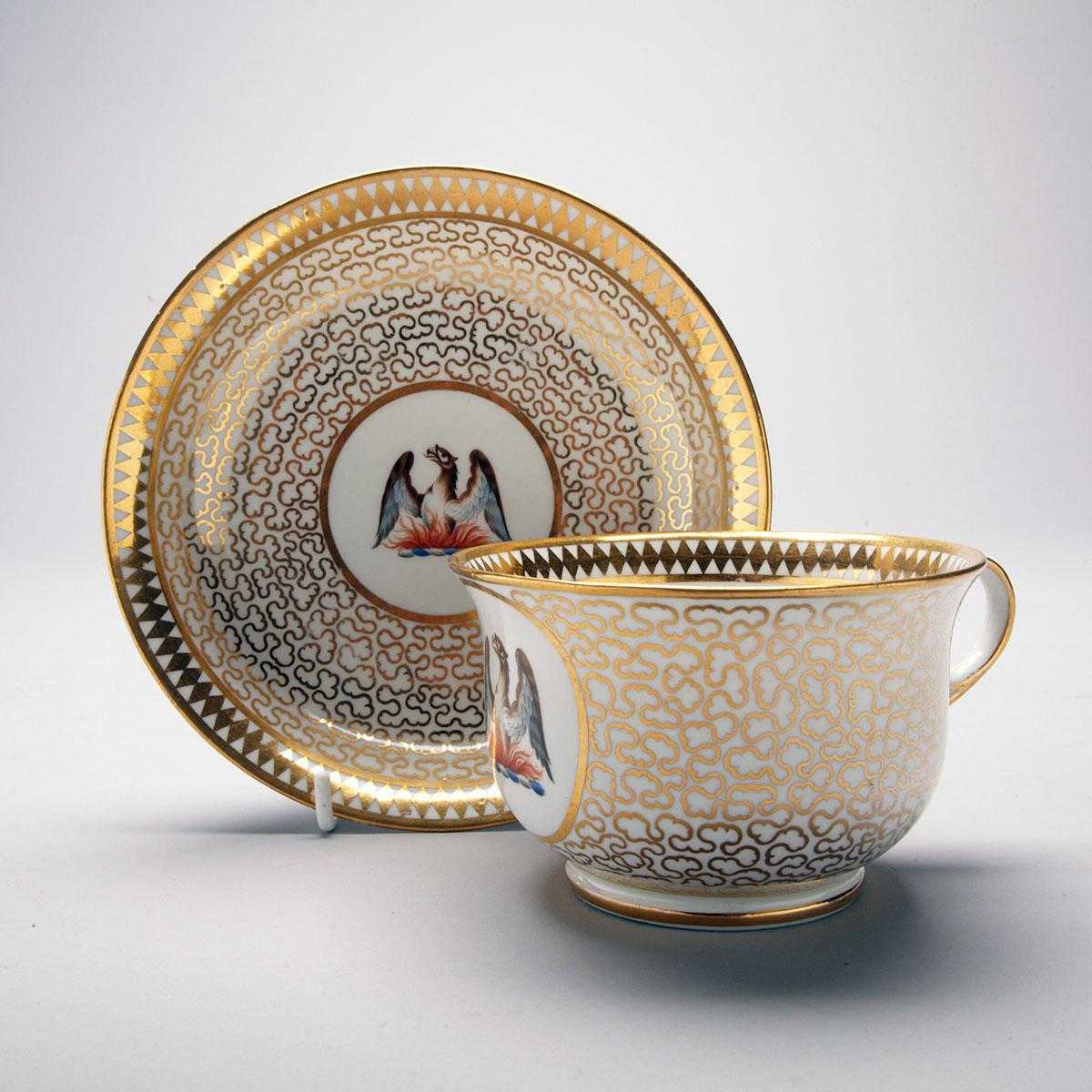 Chamberlains Worcester Gilt Vermiculated Ground Armorial Breakfast Cup and Saucer, c.1815