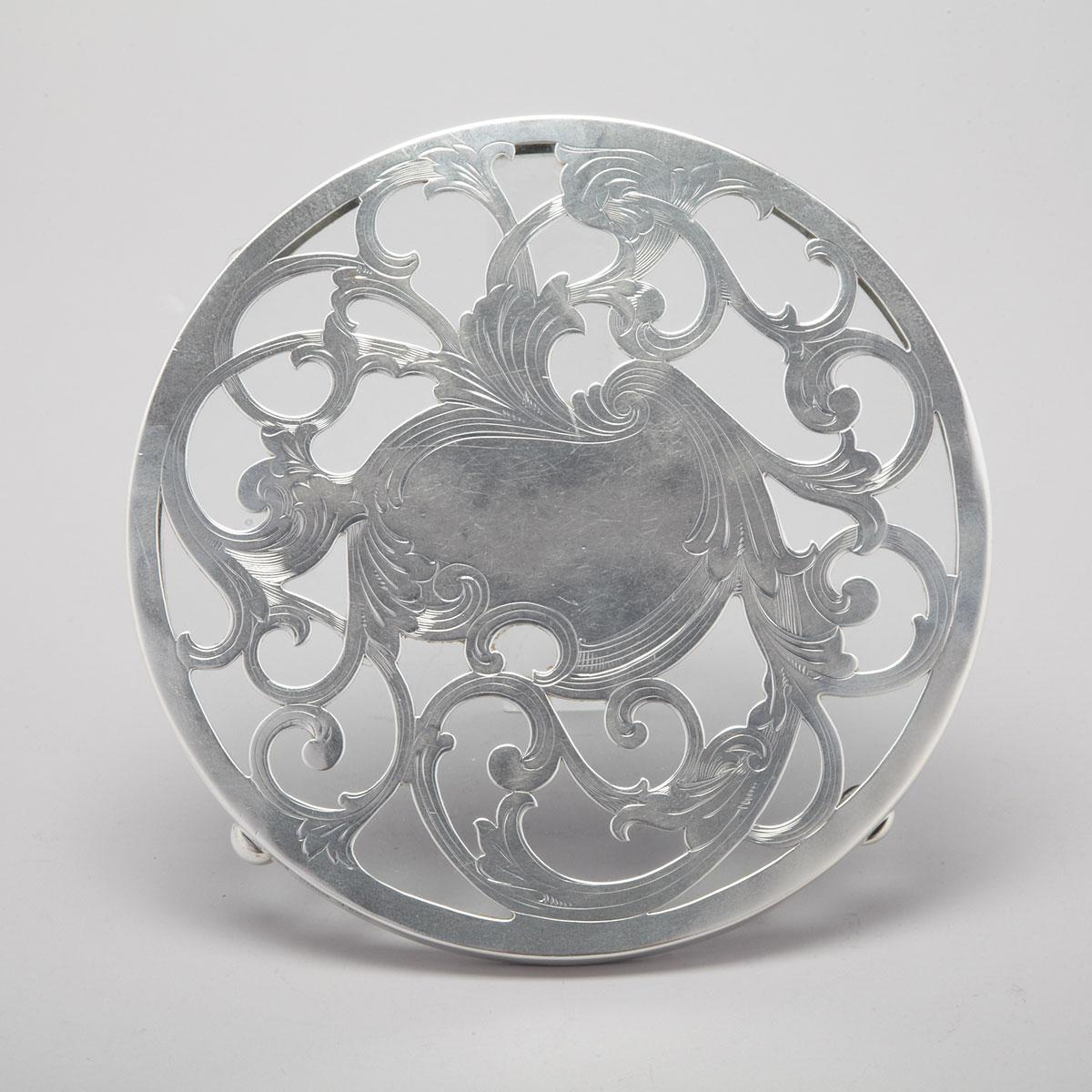 American Silver Mounted Glass Circular Trivet, Reed & Barton, Taunton, Mass., early 20th century