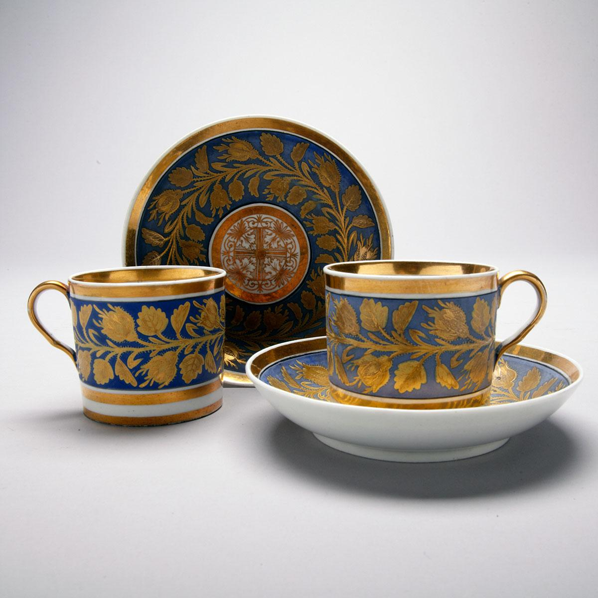 Pair of Coalport Coffee Cans and Saucers, c.1800-05