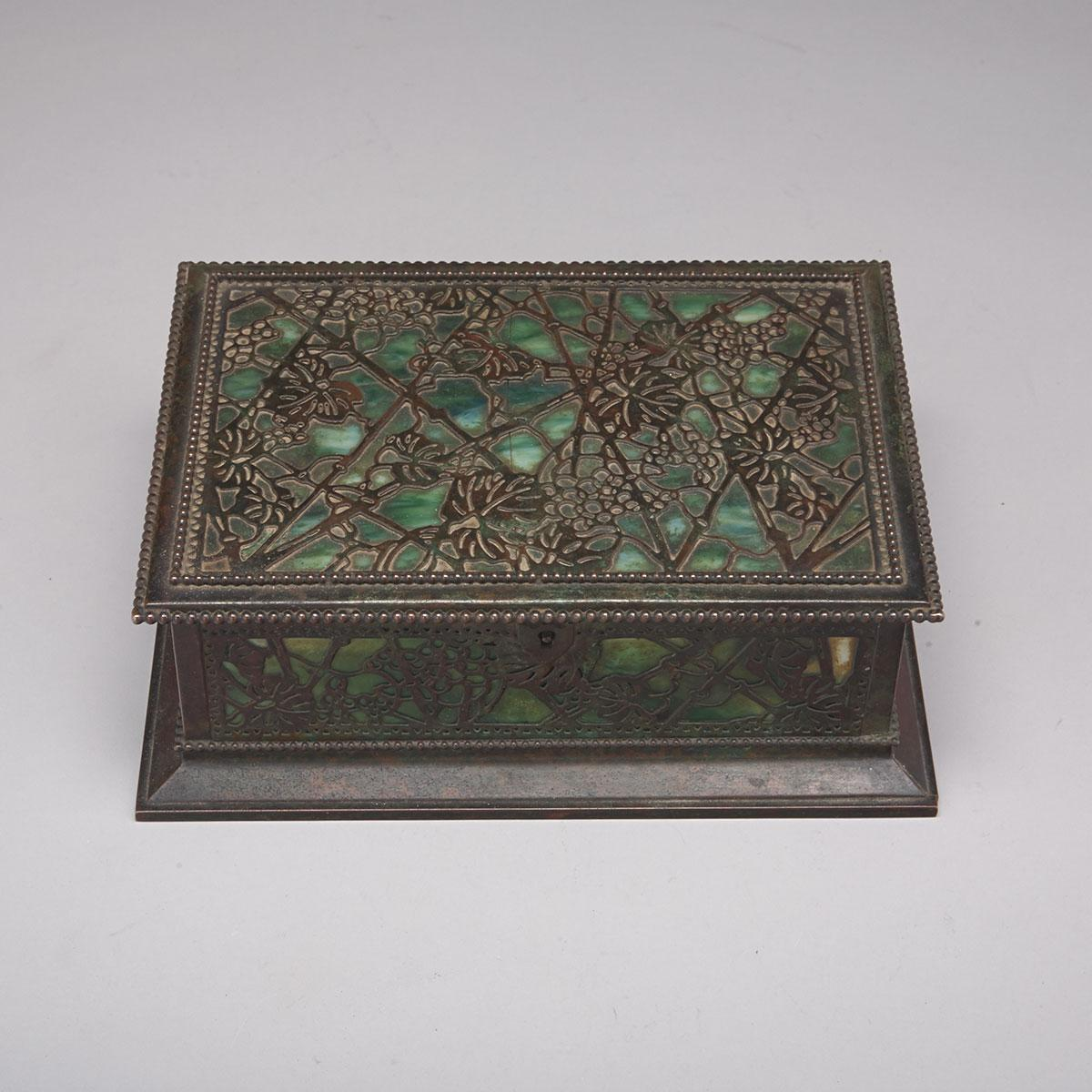 Tiffany Studios, New York, Etched Metal and Glass Grapevine Pattern Humidor, c.1919