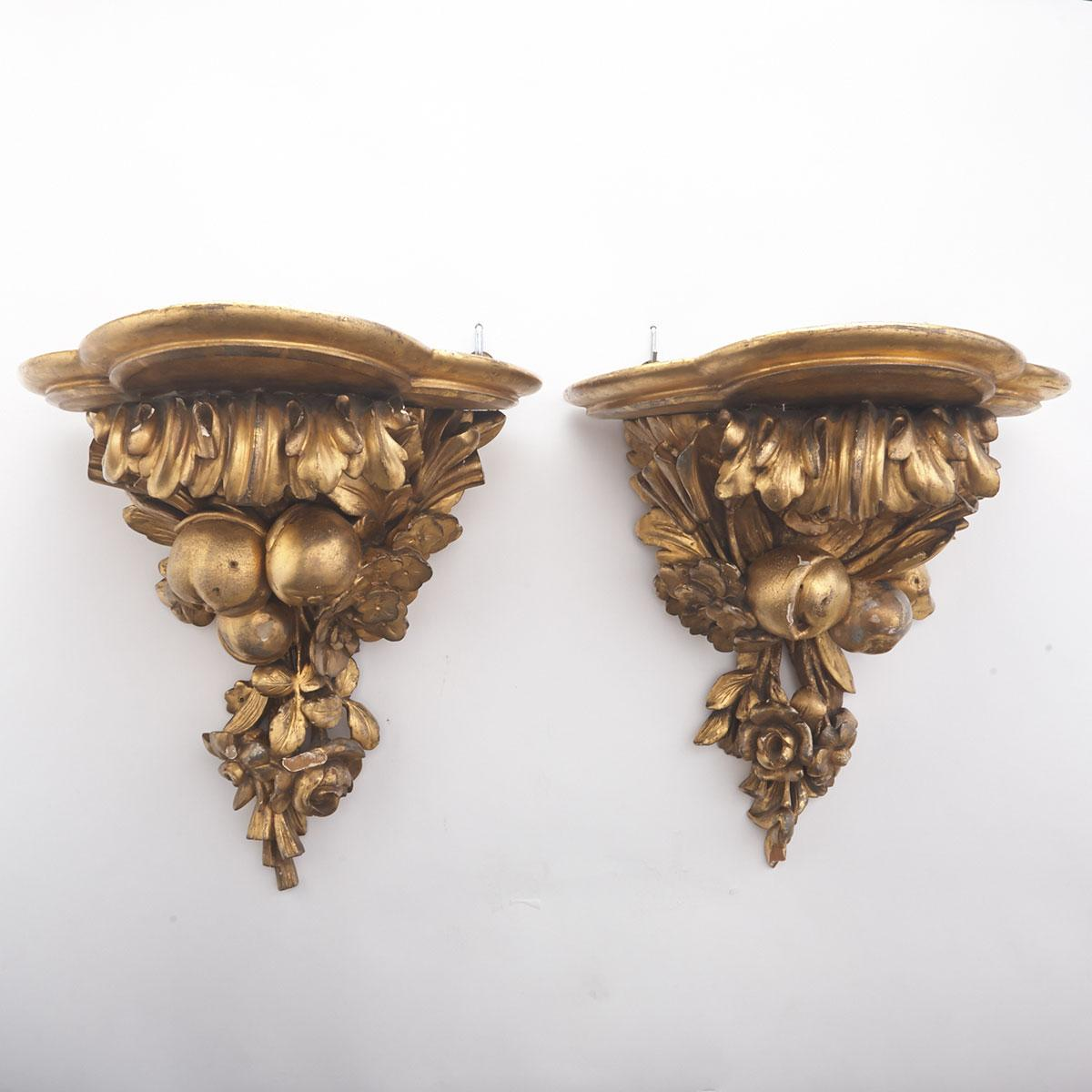 Pair of Florentine Giltwood Wall Brackets, 19th/early 20th century