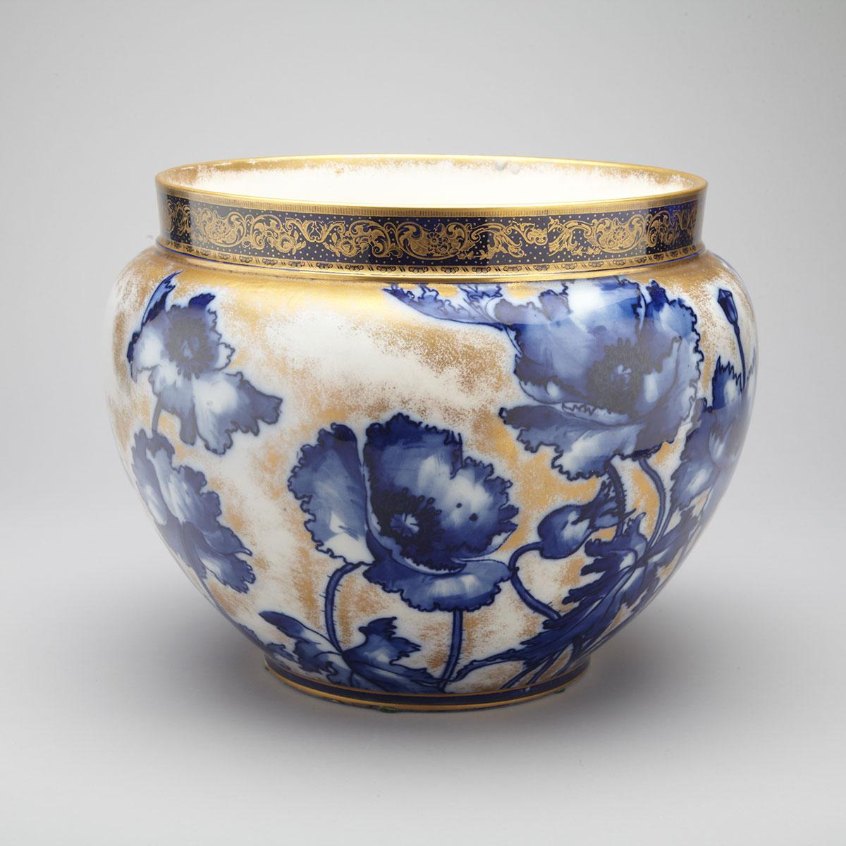 Royal Doulton Blue and Gilt Large Jardinière, c.1900