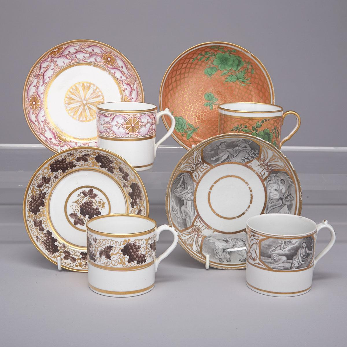 Four Various English Porcelain Coffee Cans and Saucers, c.1800-1810