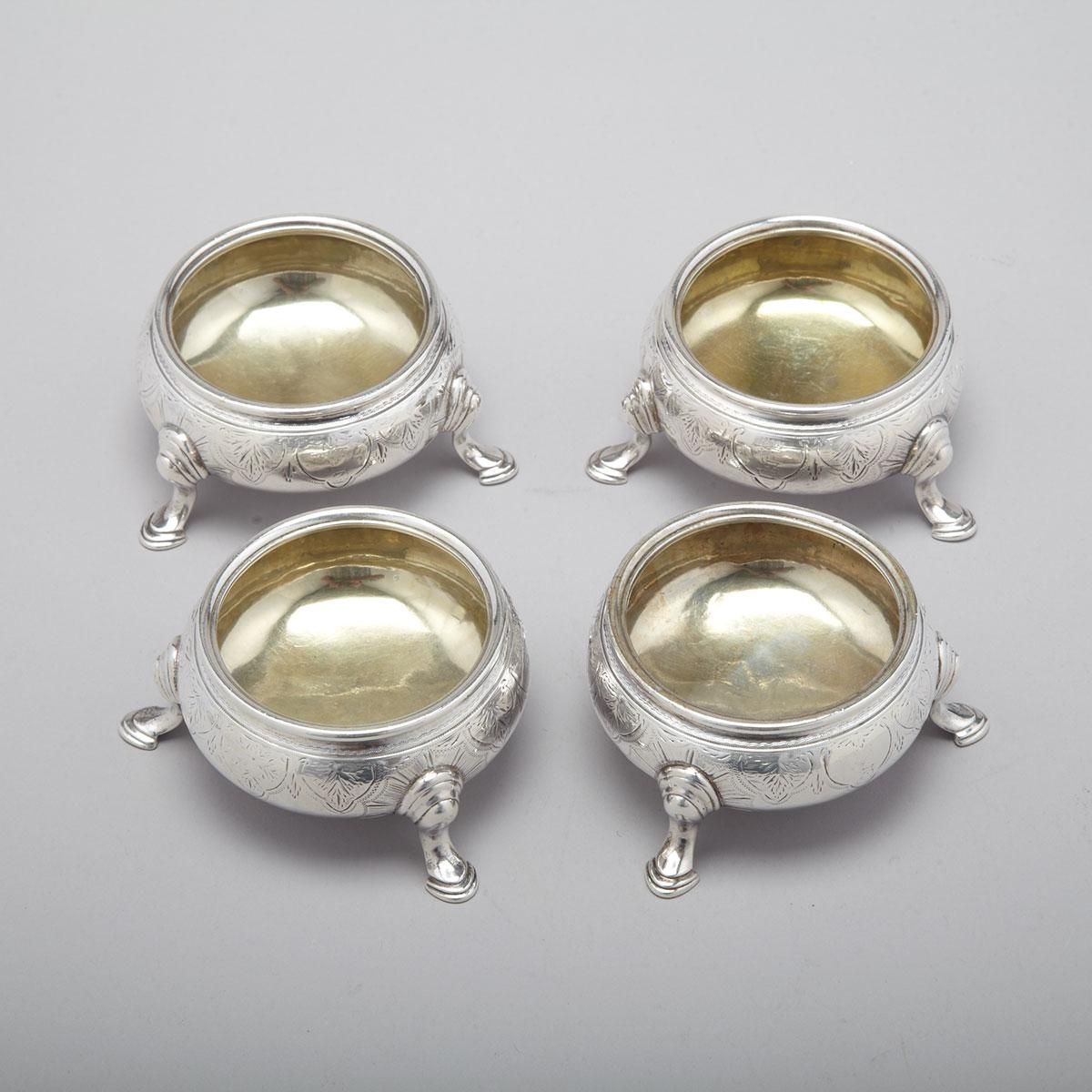 Four Victorian Silver Salt Cellars, William Moulson, London, 1858