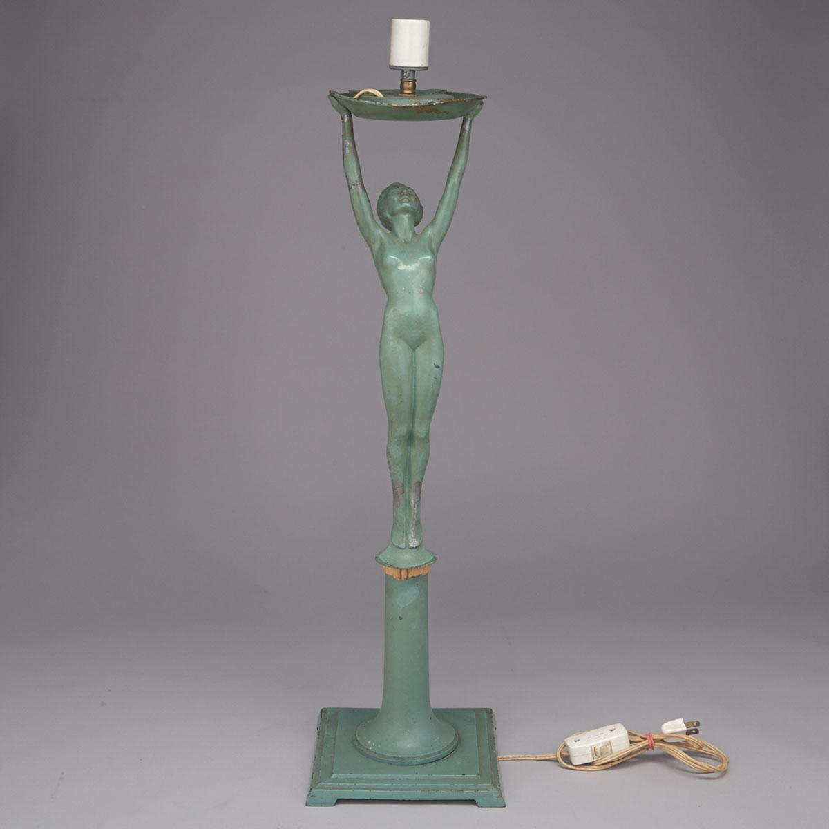 English Art Deco Patinated Metal Figural Table Lamp, c.1925