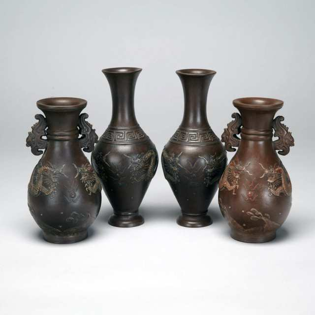 Two Pairs of Stoneware Dragon Vases