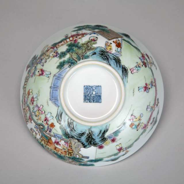 Famille Rose '100 Boys' Bowl, Qianlong Mark