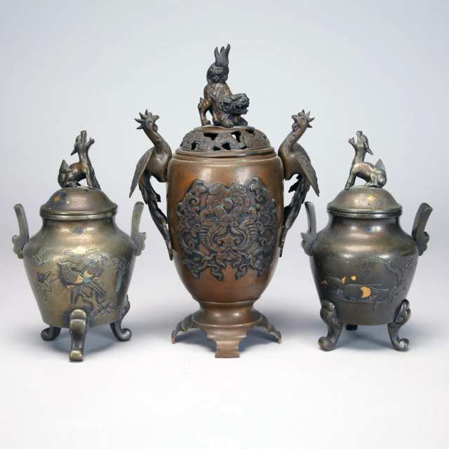 Bronze Three Piece Altar Set, Meiji Period, Circa 1900