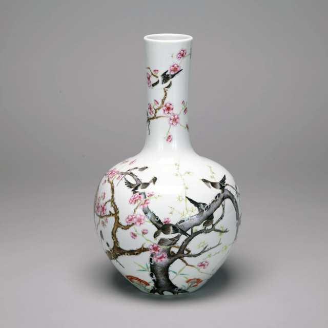 Famille Rose 'Sparrow and Prunus Flower' Vase, Qianlong Mark