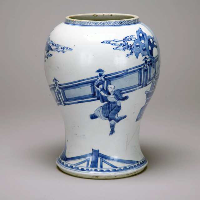 Blue and White 'Figural' Ginger Jar, 18th/19th Century