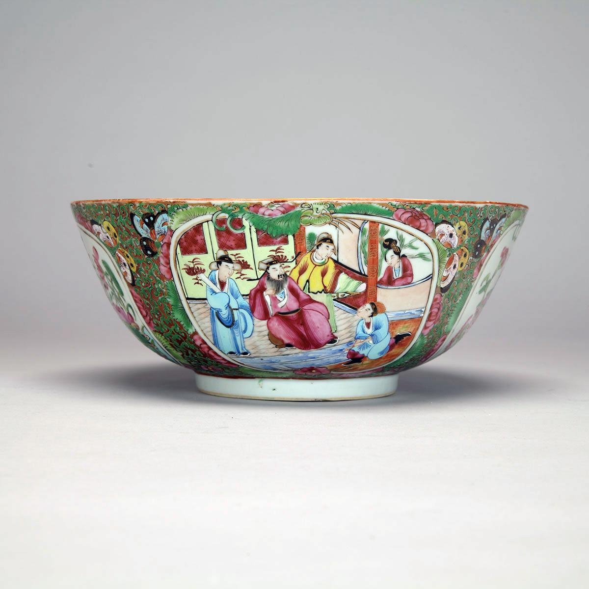 Export Canton Rose Punch Bowl, 19th Century