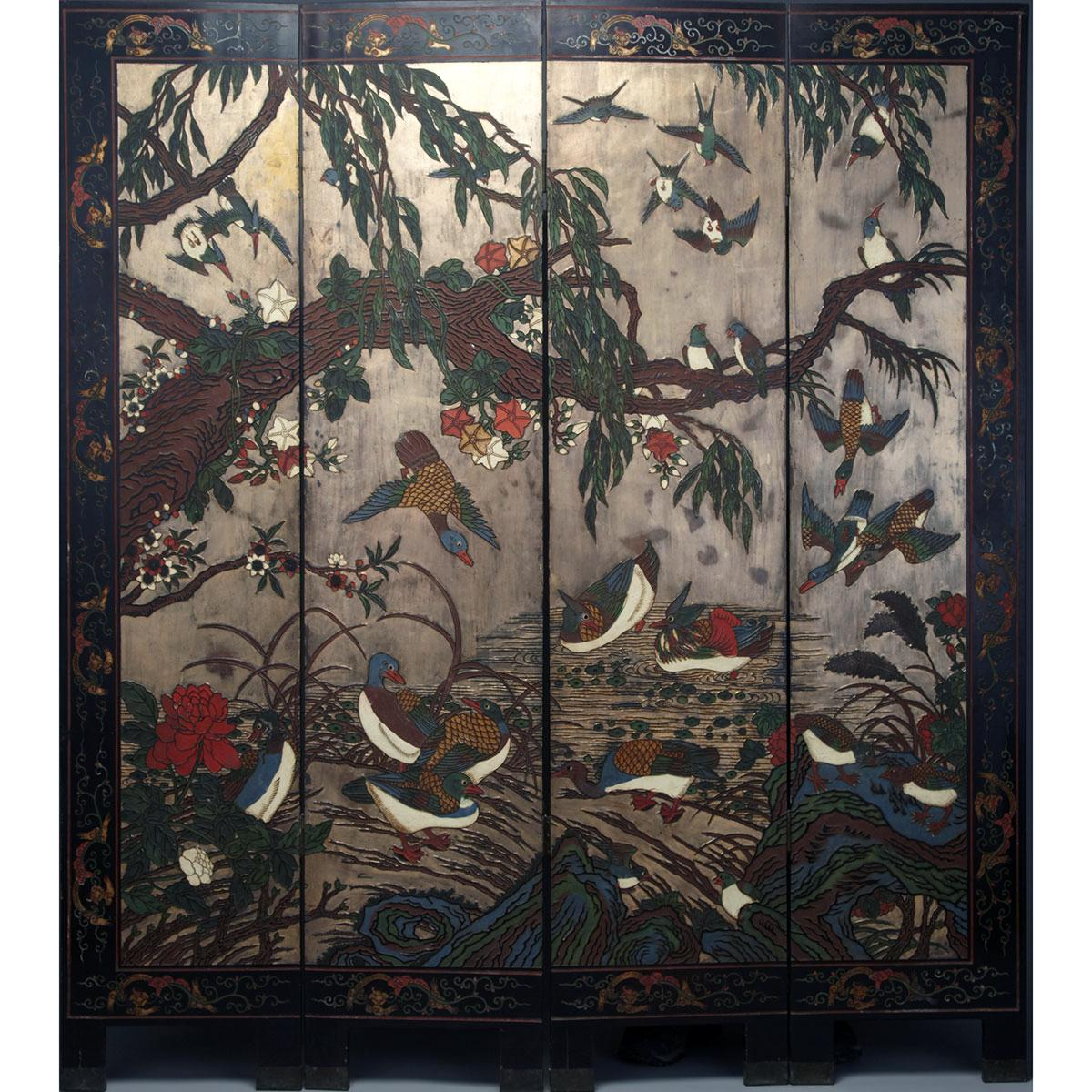 Four Panel Lacquer Floor Screen, Mid 20th Century
