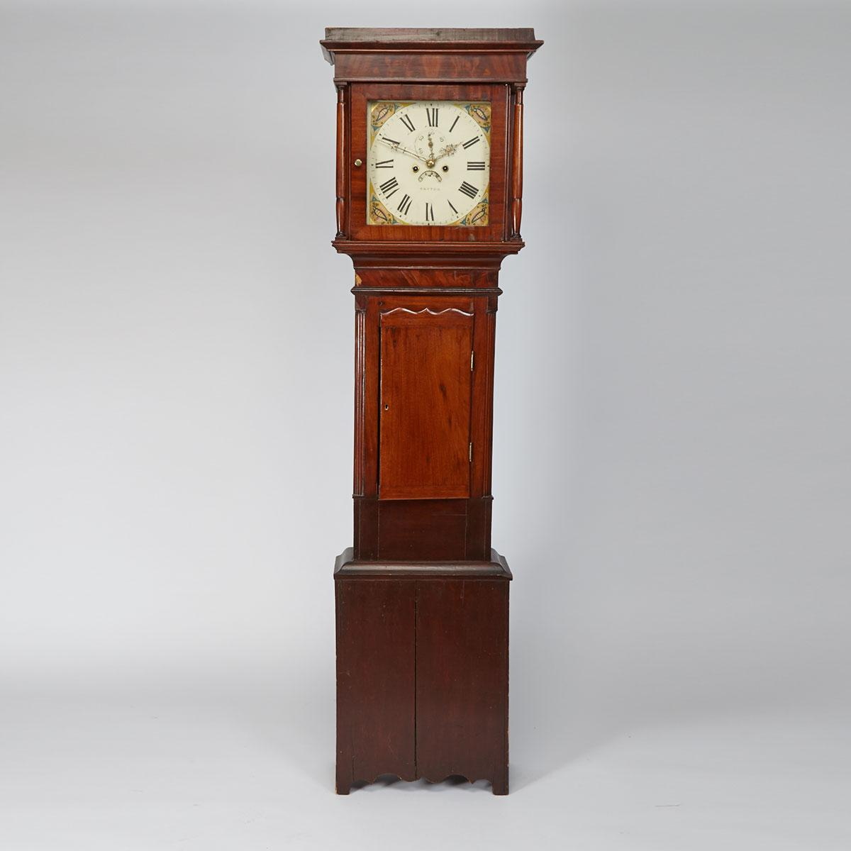English Mahogany Tall Case Clock, Patton, 19th century