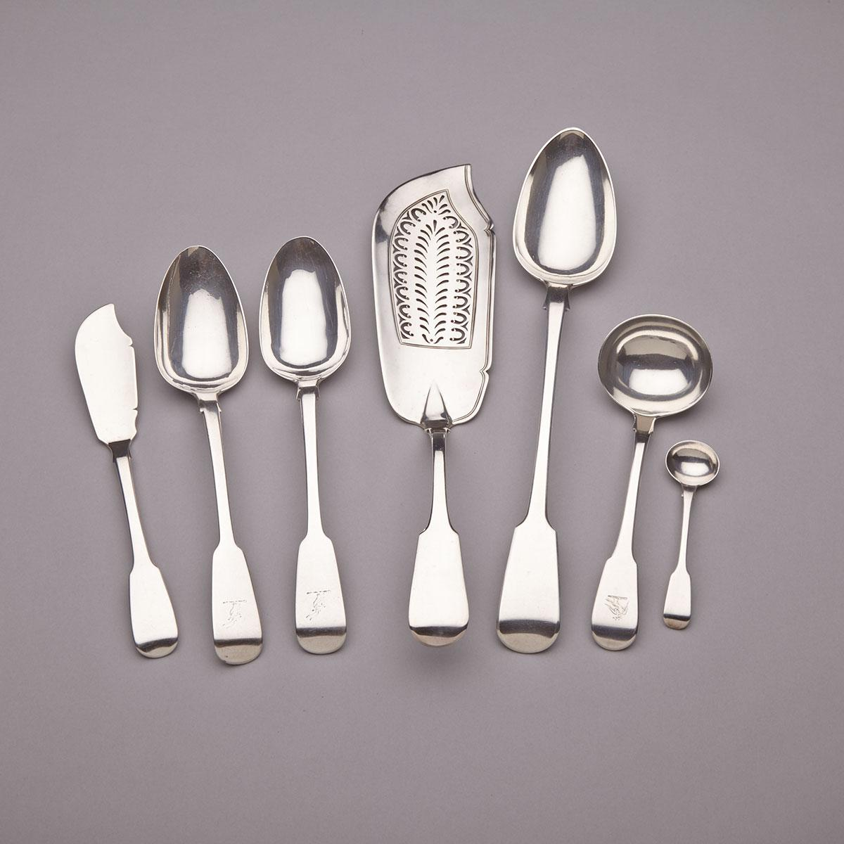 Georgian Silver Fiddle Pattern Fish Slice, Basting Spoon, Gravy Ladle, Butter Knife, Salt Spoon and Pair of Table Spoons, various makers, London and Dublin, c.1818-37