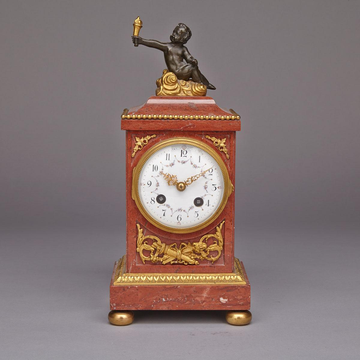 Louis XVI Style Ormolu Mounted Marble Mantle Clock, 2nd half, 20th century