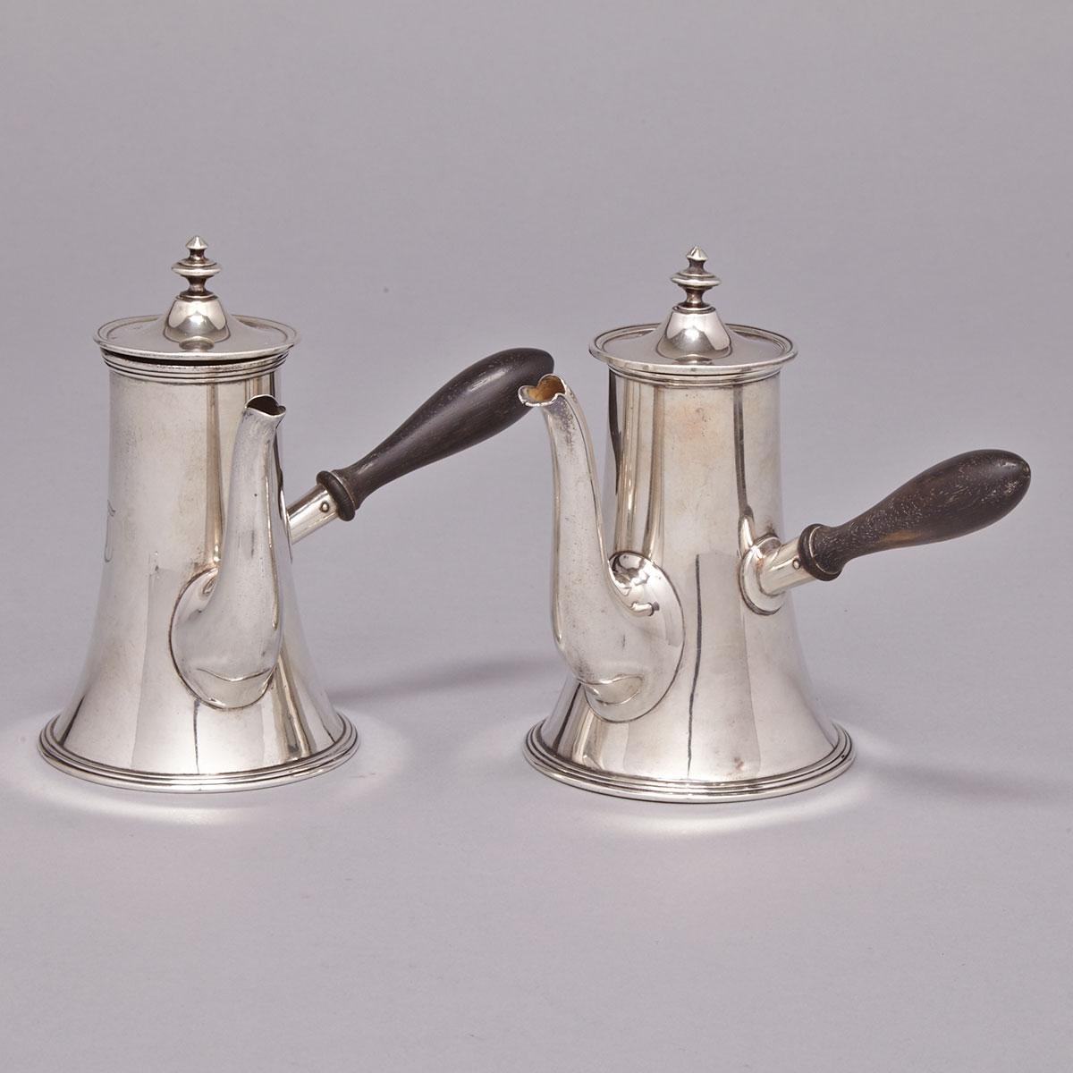 Two Canadian Silver Small Coffee Pots, Ryrie Bros., Toronto, Ont., early 20th century