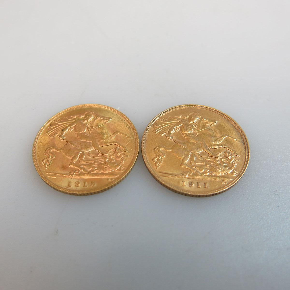 2 English Gold Half Sovereigns