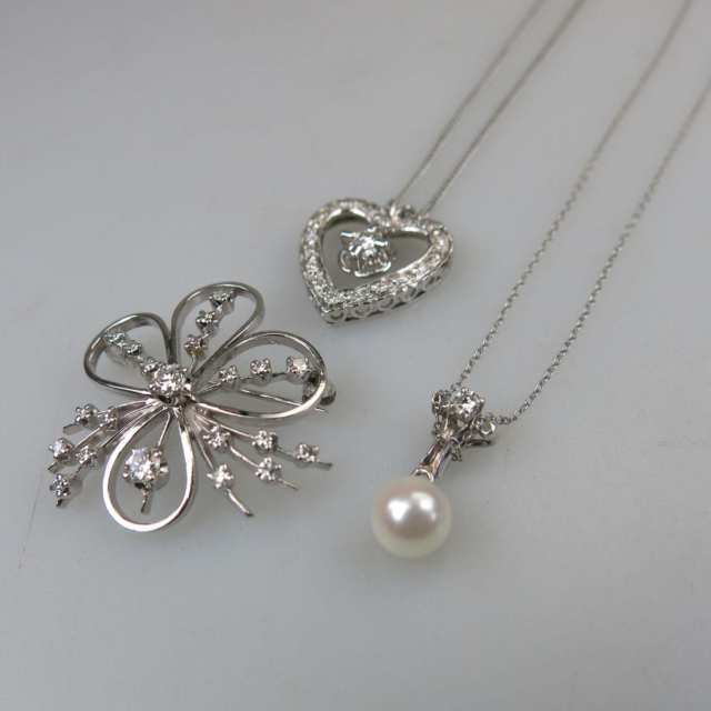 14k White Gold Chain, Pendant And Brooch